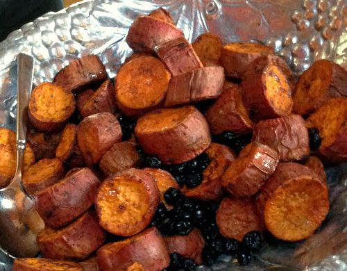 sweet potatoes with dried blueberries