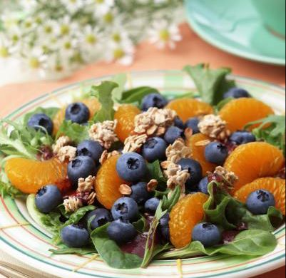 image: Breakfast Blueberry Salad courtesy of the US Highbush Blueberry Council