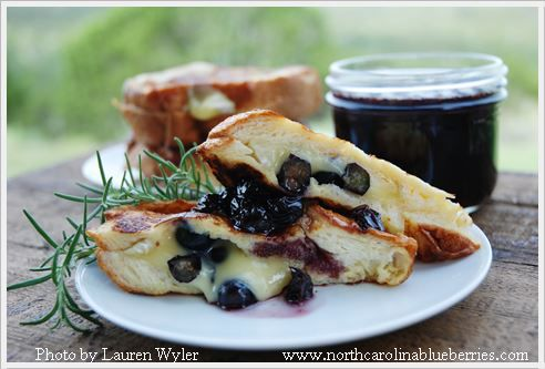 Blueberry Brie Stuffed French Toast with Blueberry Rosemary Syrup