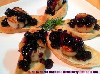 Scallop Crostini with Rosemary Blueberry Sauce